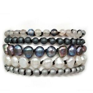 Handmade 5 Wrap Bracelet Necklace Freshwater Pearl